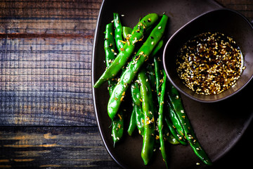 green beans in sesame Asian sauce