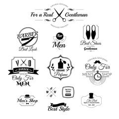 Set of vintage barber shop logo, badges and design element.