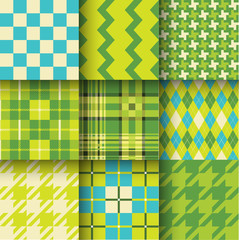 Set of seamless backgrounds with pattern striped, chess, checker