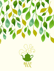 Vector beautiful illustration with teapots logo on leaf backgrou