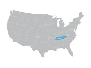 grey vector map of United States with indication of Tennessee