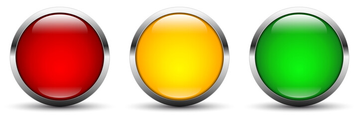 vector button set in traffic light colors - rating