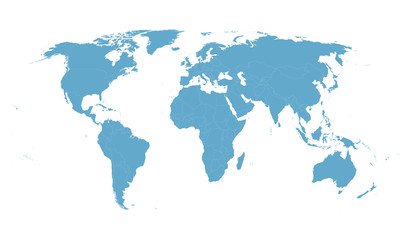 blue vector world map with all country borders