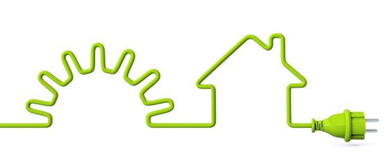 Green power plug - solar energy - house