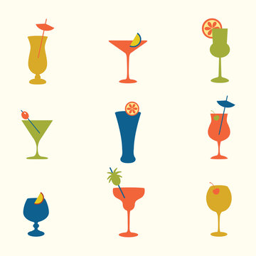Vector illustration with cocktail on white background.