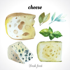 Watercolor illustration of a painting technique. Fresh organic food. Set of different noble cheeses. Bar blue cheese.