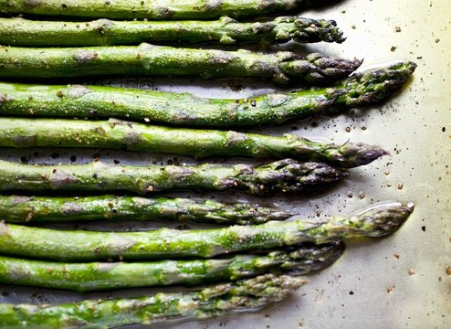 Seasoned Asparagus Spears on Sheet Pan