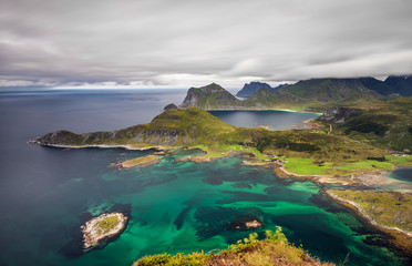 Wall Mural - View from Offersoykammen, Lofoten islands, Norway