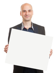 bald man holding a blank sheet of paper