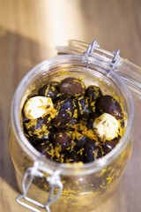 Pickled olives with garlic and lemon zest