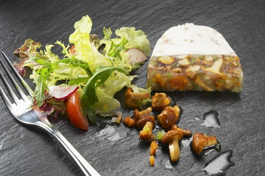 Chanterelle terrine with mixed salad leaves
