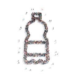group  people  shape plastic bottle