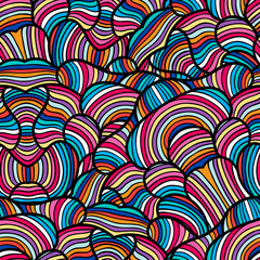 Seamless pattern with hand drawn waves line art