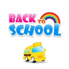 Back to school text with school bus on the white background