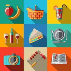 Flat icons set, picnic - basket, plate, spoon, sandwich, photo