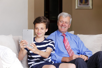 Teenager boy and his grandfather