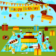 Happy birthday picnic poster with different food and drink