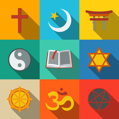 World religion symbols flat set - christian, Jewish, Islam
