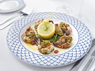 Seared king prawns with garlic and chilli butter