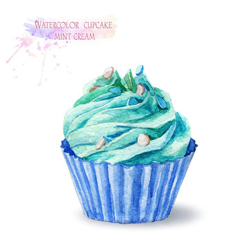 Cupcake with mint cream. Cake with a delicious cream. Watercolor illustration.