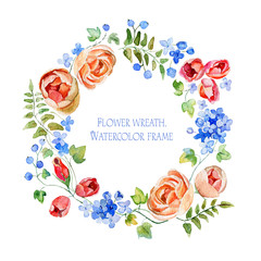 Wreath of flowers. Round frame. Watercolor flowers. Frame of flowers and some floral elements. Gentle, soft Illustration for greeting cards.