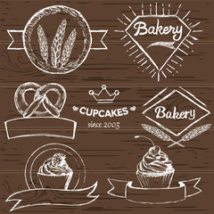 Set of hand drawn vintage bakery logos