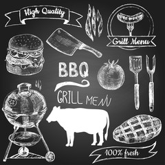 Set of hand drawn grill menu elements