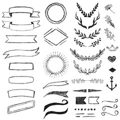 Set of hand drawn hipster elements