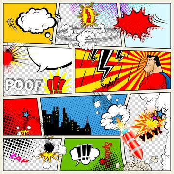 Comics Template. Vector Retro Comic Book Speech Bubbles