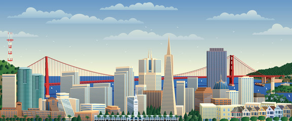 San Francisco / San Francisco cityscape. No transparency used. Basic (linear) gradients.