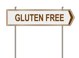 Gluten free. Road sign on the white background. Raster illustration.