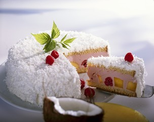 Mango and raspberry cake with coconut