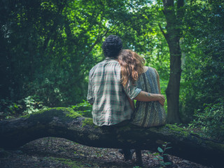 Young couple embracing on log in forest