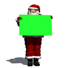 Santa Claus with blank poster in green screen