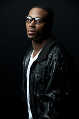 Black Man Leather Jacket with Glasses