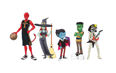 Teen Monsters / Illustration of young high school monsters. Devil Basketball Jock, witch, cool vampire, rocking mummy and frankenstein.