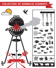 collection of different barbecue elements