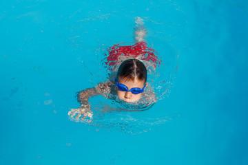 Little boy swimming in pool