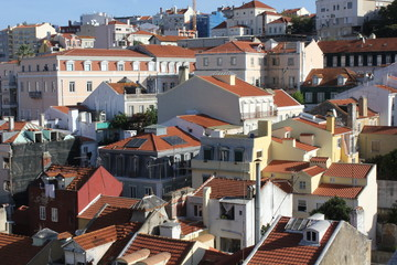 View from the top of Lisbon downtown city with all its houses and roofs
