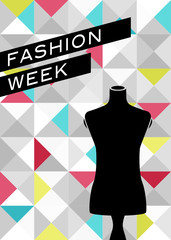 Fashion poster with mannequin silhouette