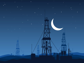 Oil and gas rigs over night desert vector illustration
