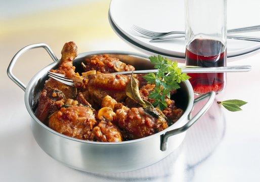 Coq au vin with Beaujolais