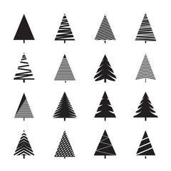 Set of Black Christmas Trees. Vector Illustrations.