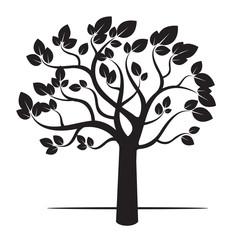 Black Tree and Wind. Vector Illustration.