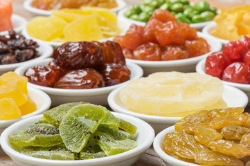 Close-up  dried kiwi  fruits with group of  dried fruits
