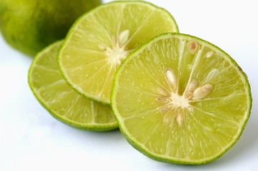 A sliced lime