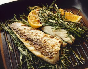 Grilled sea bass fillets with tarragon