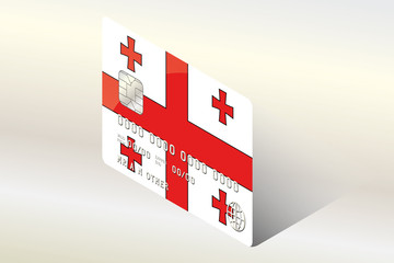 3D Isometric Flag Illustration of the country of  Georgia