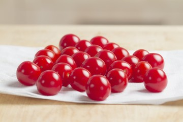 Cherry tomatoes on a piece of kitchen paper