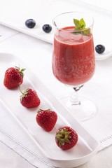 A strawberry and blueberry smoothie